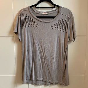 Gray tee with cutouts